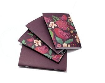Mini Notebooks, Pocket Notebook, Soft Cover Notebook, Field Journal, Jotter, Purple Notebook, Mini Journal, Bird Notebook, 4x3