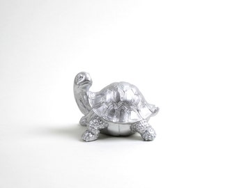 The Lucy - Silver Resin Turtle Sculpture - Reptile Turtle Figurine - Animal Statue - Faux Taxidermy