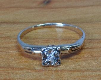 14K Mid-Century Diamond Engagement Ring // 14K Gold  Diamond Ring // White and Yellow Gold Diamond Ring