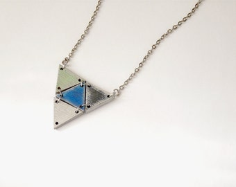 wooden triangle geometric necklace - silver edged pastels, royal blue, black, silver