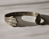 "Etched Brass Fluted Cuff Bracelet - ""Strong Girl"""