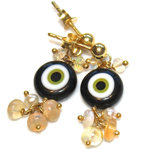 Evil Eye Earrings Evile Eye Jewelry Opal Earrings Opal Jewelry Millefiori Earrings Fun Earrings Cluster Earrings FizzCandy Jewelry