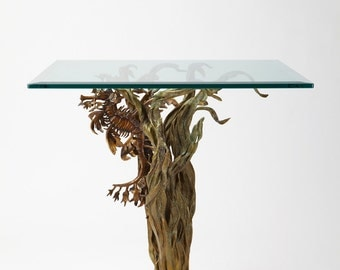 Bronze sculpture end table leafy sea dragon seahorse by Kirk McGuire