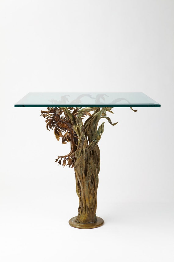 Bronze sculpture end table leafy sea dragon seahorse by Kirk McGuire