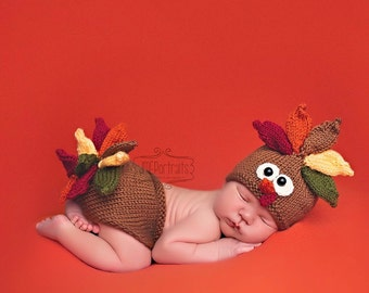 Baby Turkey Hat and Matching Diaper Cover Photo Prop, Knitted, MADE TO ORDER