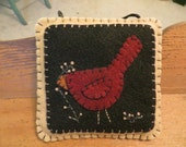 Felt Red Bird Appliqued Door Knob Hanger, Appliqued and Embroidered Ornament, FAAP, OFG, Home Decor, Primitive Decor