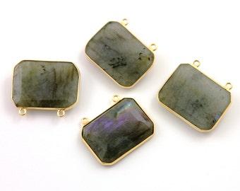 Natural Labradorite, Bezel Fancy Shape Gemstone Pendant, Gold Vermeil,    21x28mm, 1 Piece, (BZC8001/LAB)