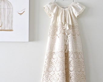 Baptism Dress-Heirloom Embroidered Couture Lace- Baby Long Christening Gown-Special Occasion Chidren Clothing by Chasing Mini