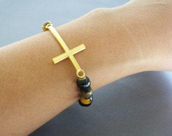 18K Vermeil Gold Cross bracelet, Christian Bracelet,  large sideways cross bracelet, Large cross bracelet, religious, agate bracelet