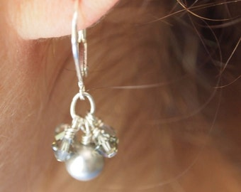 Grey pearl and Swarovski crystal cluster earrings by Cerise Jewelry