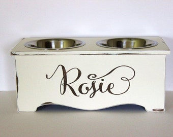 personalized dog feeder, elevated dog feeder, 10 inches tall, bon appetit, 3 quart stainless steel bowls