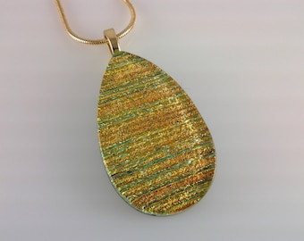 Dichroic Glass Pendant, Fused Glass Jewelry, Orange Gold Dichroic Teardrop Necklace