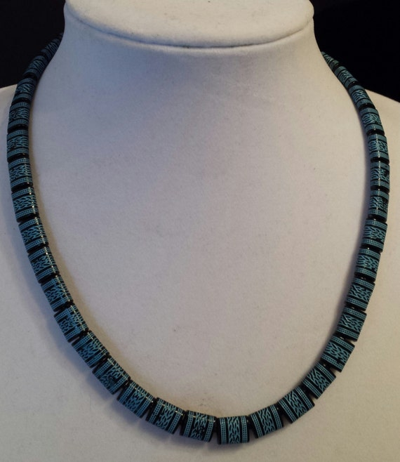 Mens Native American Beads: Mens Native Decorated Beaded Necklace With Blue And Black