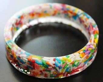 Resin Rainbow Sprinkles Bangle Bracelet