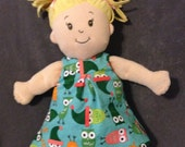 Little Reversible Dress in Jingle Owls and Tangerine Pindot for Baby Stella, Waldorf and 13, 14, 15, 16 Inch Dolls, Doll,Clothes