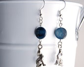 Blue Moon Howling Wolf Earrings - Teen Wolf Inspired