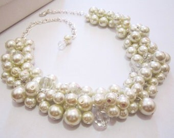 Bridesmaid Necklace, Pearl Necklace, Chunky, Cluster Necklace, Wedding Jewelry, Bridesmaid Gift, White or Ivory Pearls