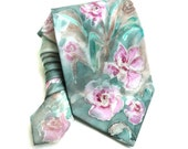 Hand Painted Silk Tie. Floral Man NeckTie. Handmade Tie. Grooms Wedding Tie. Anniversary Birthday Gift for Him. Green Pink Tie. MADEtoORDER