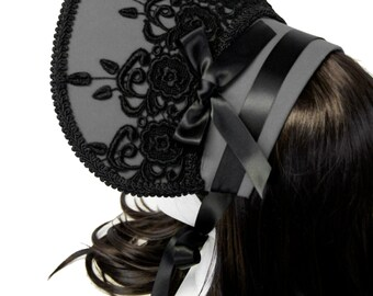 Beautiful Grey and Black Victorian Gothic and Lolita Rose Bonnet - Made to Order