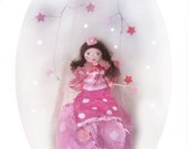 fairy mobile - nursery decor, kids room, stars, pink, paper mache kids, mobile kids