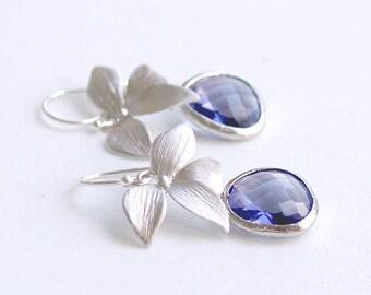 Purple Bridesmaid Earrings - Tanzanite Earrings in Silver - Orchid and Purple Drop Earrings on Sterling Earwire - Wedding Jewelry, Freesia