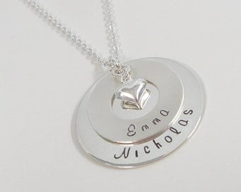Sterling Silver Family Necklace - Hand Stamped Personalized Jewelry - Mommy Necklace