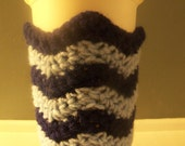 Chevron Cup Cozy - choice of colors,  Handmade Crochet, Reusable To Go Cup Sleeve, Eco-Friendly, Cotton Cup Warmer, Coffee Cup Holder