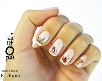 Octopus & Squid Creatures Nail Sticker