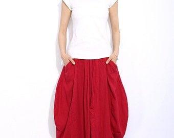 Red linen skirt maxi skirt women skirt C329