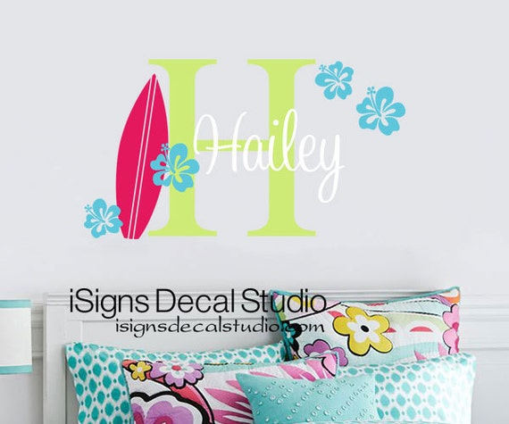 Girls Surf Wall Decal - Initial Name Surfing Decal - Girls Name Decal - Baby Nursery - Beach Decal - Vinyl wall Decal - Beach Wall Sticker