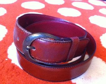 LANVIN Oxblood Leather Belt - size 38