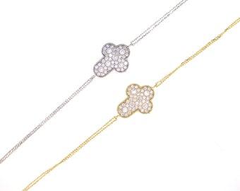 Pave Sideway Cross Bracelet