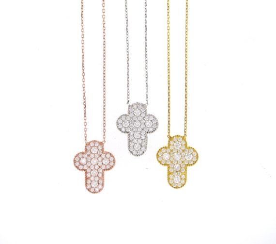 Pave CZ Cross Necklace