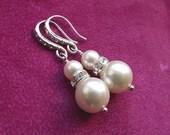 Wedding earrings, bridesmaid earrings, pearl bridal earrings, bridesmaid jewelry, rhinestone & pearl earrings, wedding jewelry