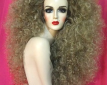 BEYONCE WIG! Custom Lace Front Professional Costume Wig- Drag Queen, Celebrity Impersonator Sasha Fierce Big Curly Dark Blonde Showgirl Hair