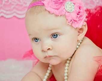 Headband, Pink Baby Headband, Infant Headband, Newborn Headband, Girls Headband, Pink Shabby Chic Headband, Shabby Chic Headband