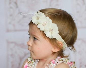 Ivory Baby Headband, Infant Headband, Newborn Headband, Baptism Headband, Christening Headband, Chiffon and Pearls Flower Headband
