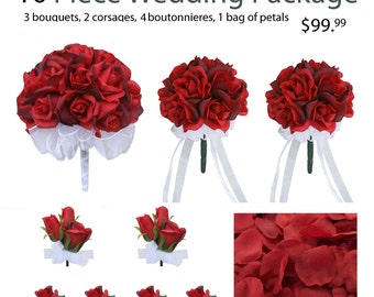 10 Piece Wedding Package - Silk Wedding Flowers - Bridal Bouquets - Red Silk Rose Wedding Bouquets
