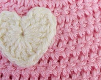 Baby Girl Hat, Pink Baby Hat, Crochet Newborn Heart Hat, Baby Girl Beanie, Baby Photo Prop, Pink Beanie, Baby Skull Cap
