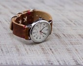 Leather Watch Strap Horween Leather Rust Dublin Hardware Cross Stitched Rustic