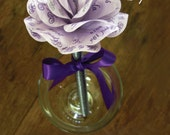 Lavender and Purple Paper Rose Topped Pens for Weddings, Showers, Baptisms or Any Occasion Set of 3