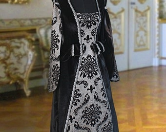 Renaissance Dress Handmade from Velvet and Brocade Tudor Style Custome, Medieval Gown Multiple Colors Available