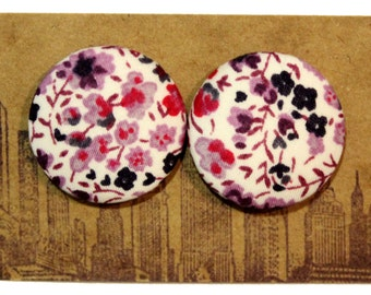 Fabric Button Earrings / Wholesale Jewelry / Purple Earrings / Hypoallergenic Stud Earrings / Liberty of London Print / Gifts for Her