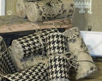 "Burlap Ribbon, 5"" Wide ""Houndstooth Print"" Black & Natural, Craft Supply, Primitive Burlap Garland, 3 yds Handmade Ribbon, Rustic Fall Decor"
