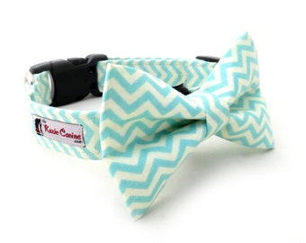 Teal Chevron Dog Collar ( Teal & Off-White Dog Collar Only - Matching Bow Tie Available Separately)