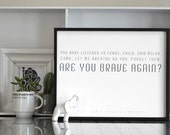 Are You Brave Again || Narnia || Typography Poster