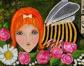 Redhead Bumblebee Girl Original Painting-- Bee Love