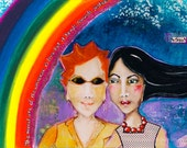 Lesbian Couple Marriage Equality Art Print-- And Justice For All