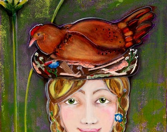 Girl with Chicken In the Garden, Signed and Numbered Giclée