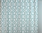 Snowy Light Blue White Sheffiled Trellis Curtains - Rod Pocket - 84 96 108 or 120 Long by 25 or 50 Wide - Optional Blackout or Cotton Lining